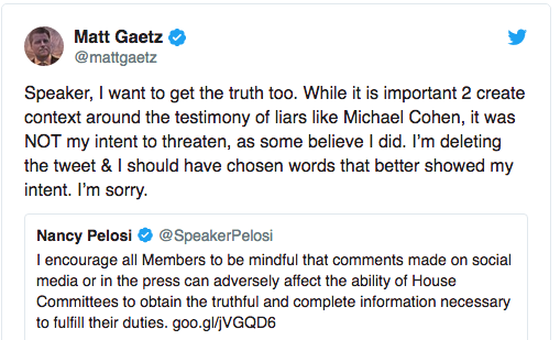 Gaetz apology tweet