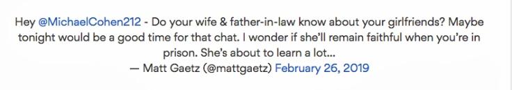 Gaetz tweet022619