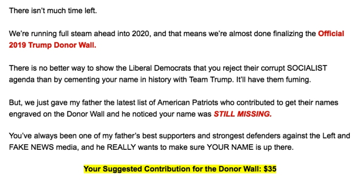 Trump donor wall appeal