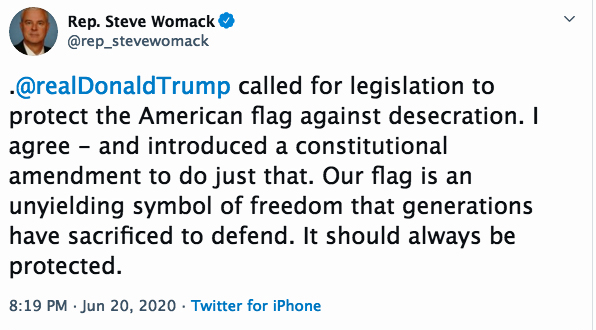 Wommack tweet on US Flag